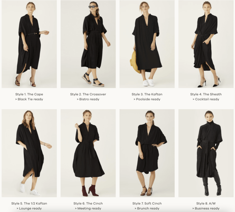 Ever by X dress review. Image shows the Ever by X One Dress styled eight different ways.