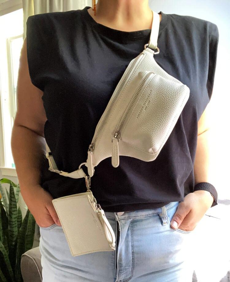 brandon blackwood belt bag with detachable change purse