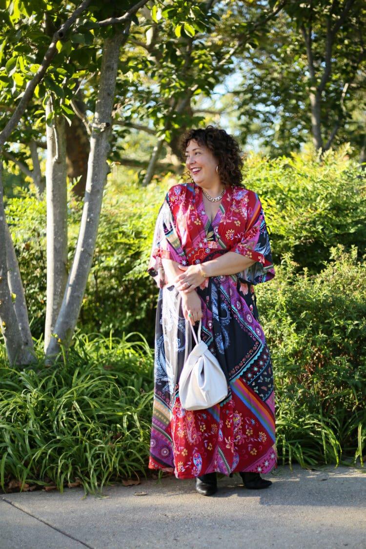 Wardrobe Oxygen wearing an eShakti floral maxi dress
