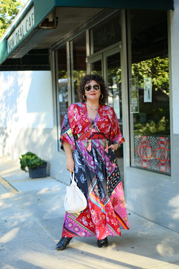 eshakti review by Wardrobe Oxygen and her experience ordering this red printed maxi dress