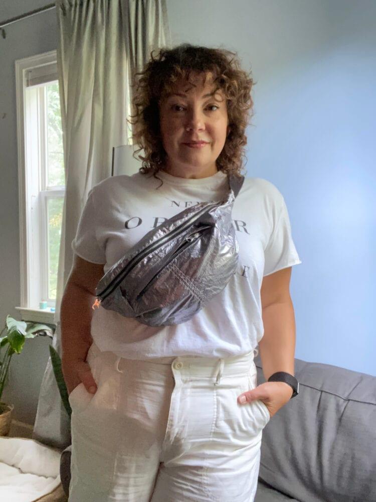 isabel marant silver belt bag