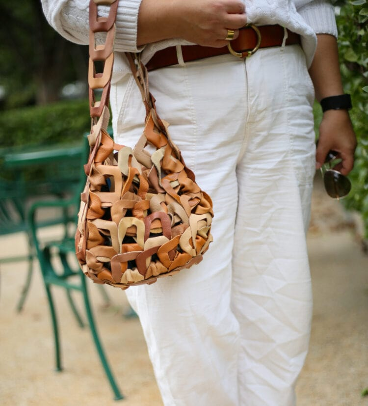 SC103 links leather tote