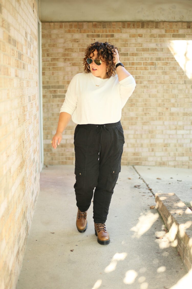 Alison of Wardrobe Oxygen in black Banana Republic cargo pants