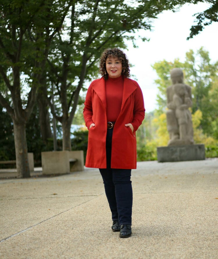 Chico's red sweater coat and mock neck on Wardrobe Oxygen