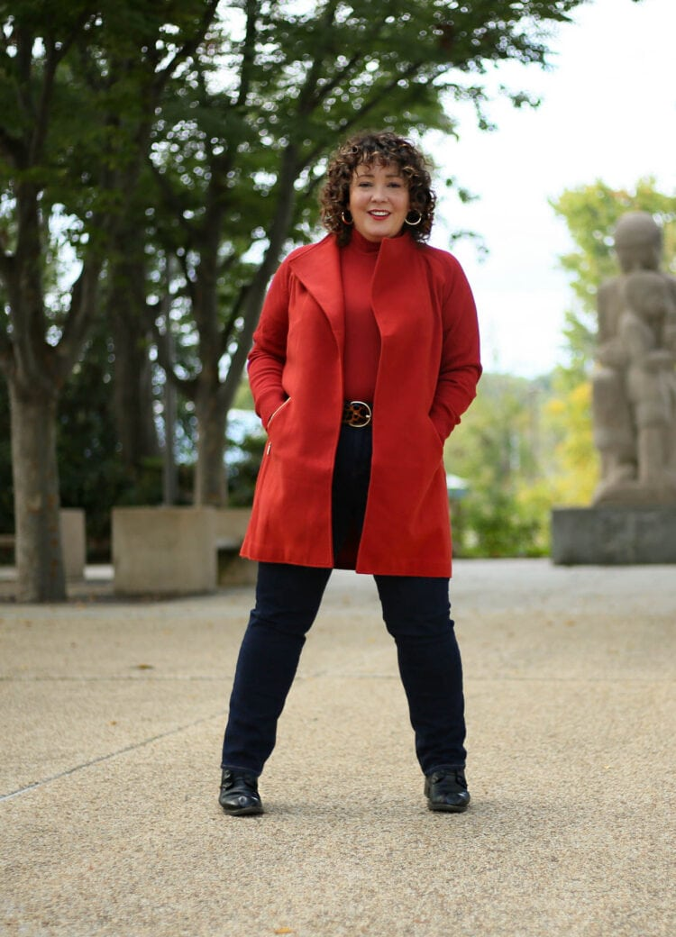 Chico's spiced red sweater coat
