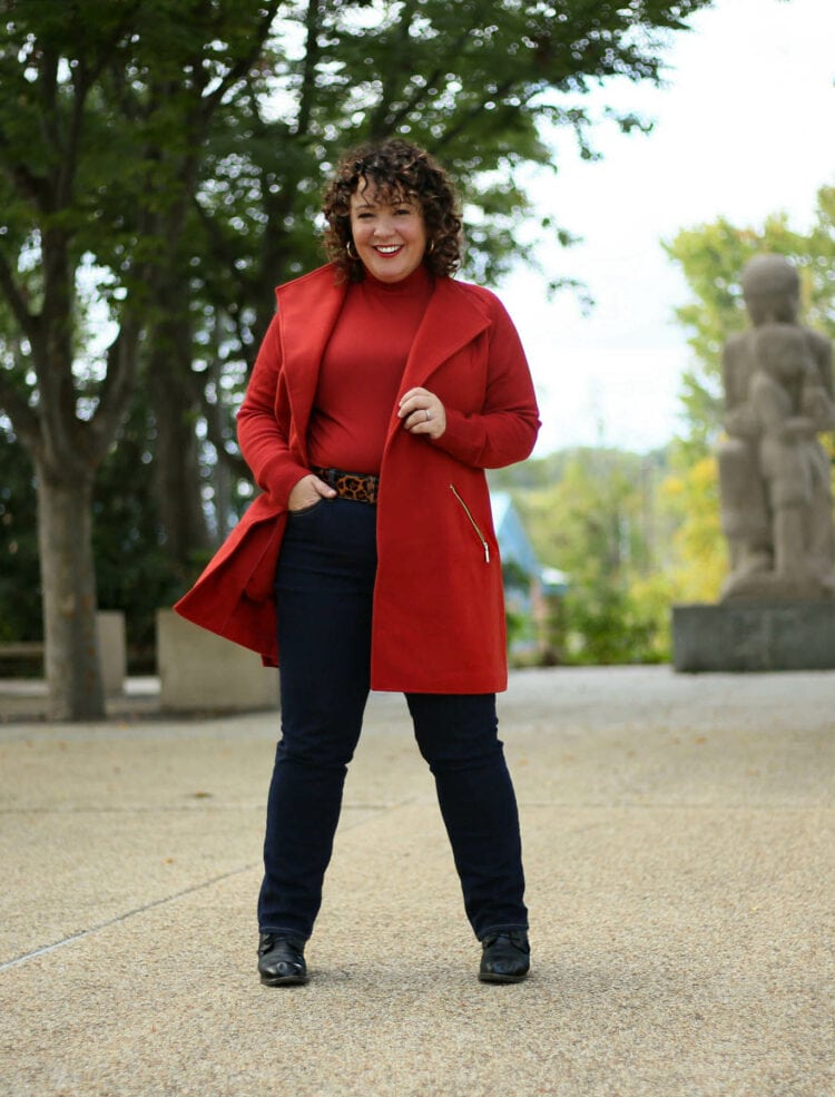 Chico's spiced red sweater coat on Wardrobe Oxygen